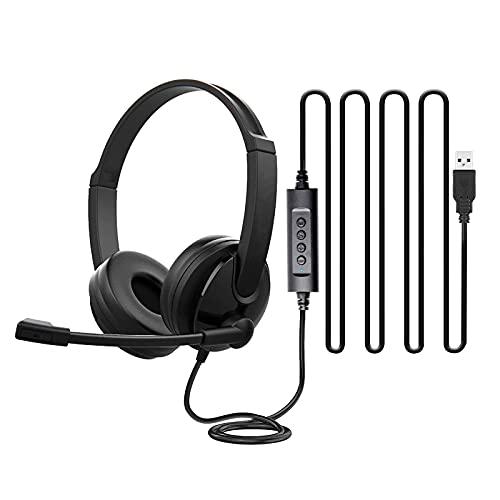 FDKJOK Auriculares para ordenador, auriculares Jack de 3,5 mm con micrófono con cancelación de ruido, interfaz USB para negocios con micrófono