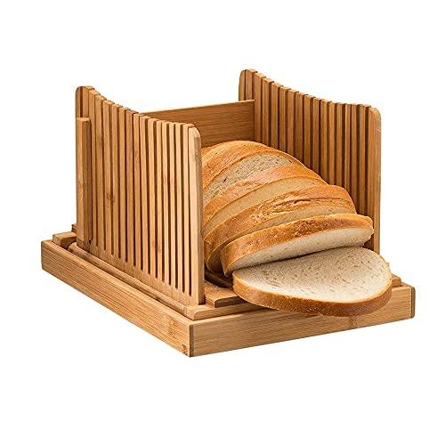 Bamboe Sneetje Brood Natuur Bamboe Brood Foladable Met Kruimel Catcher Lade, Verstelbare 3 Dikte Cutter Voor Brood Taart Bagels Sandwich 32cm×21cm×13cm/Originele bamboekleur