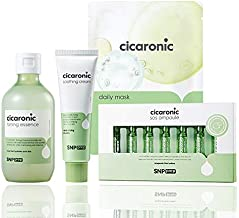 SNP PREP - Cicaronic Complete Korean Skin Care Set - Includes Toner, Soothing Cream, SOS Ampoule, & Sheet Mask (10 Sheets) - Best Gift Idea for Mom, Girlfriend, Wife, Her, Women