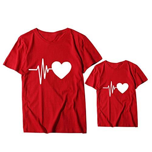 YANFANG Camiseta para Familiares a Juego con la Familia Madre Mujer Amor Imprimir Tops de Manga Corta Blusa Ropa de Color sólido