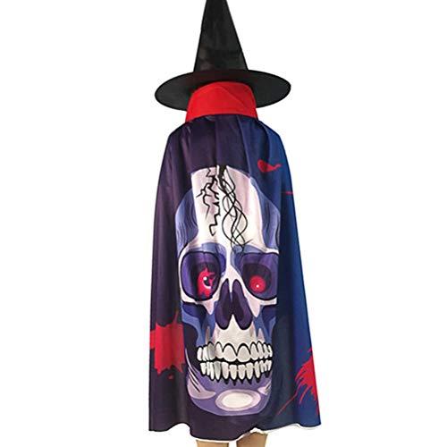 WENTS Brujas Cape and Hat Cosplay Party para niños Disfraz de Halloween Props Juego de rol Fancy Dress up School para niños y niñas Fiesta de Cosplay (Esqueleto)