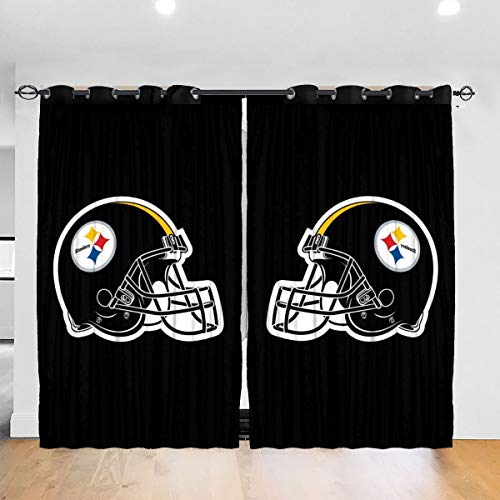 YRTY Custom Pittsburgh Symmetrical Team Logo Blackout Curtains Wave Striped Foil Print Room Darkening Grommet Blackout Curtain for Bedroom Curtain 2 Panels 52 X 84 in
