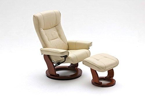 lifestyle4living Relaxsessel in Creme, Echtleder, Gestell 360° drehbar Wallnuss-Braun inkl. gepolstertem Hocker | Perfekter Sessel für entspannte Fernseh-Abende