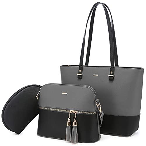 LOVEVOOK Handtasche Damen Schultertasche Handtaschen Tragetasche Damen Groß Designer Elegant Umhängetasche Henkeltasche Set 3-teiliges Set (B-grau schwarz)