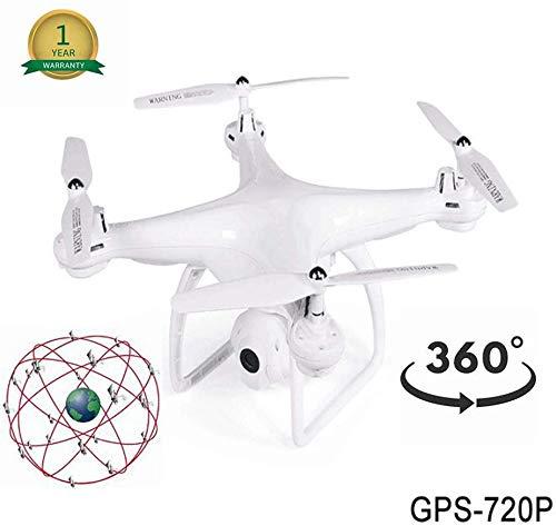 ZGYQGOO Drones Live Video, Distance contrôle Longue Distance à 360 °, Mosans tête Longue portée, GPS Live Video HD, Batterie intégrée aux Drones 25 Min Temps vol Longue portée, Blanc