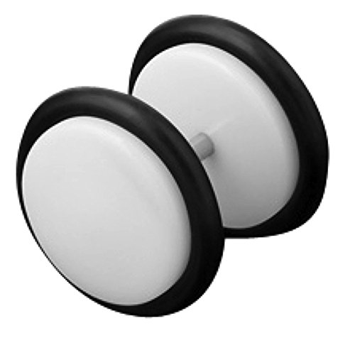 Piersando Ohrring Fake Ohr Plug Flesh Tunnel Piercing Ohrstecker Stecker Stab Runde Platte UV Hantel Kunststoff Weiß 8mm