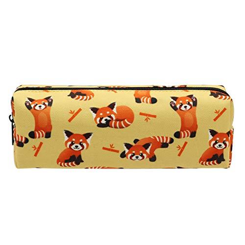 Canvas Pencil Bag Pencil Case Holder Pen Pouch for Boys Girls Kids Teens Teenagers Student Women Men (Red Panda)