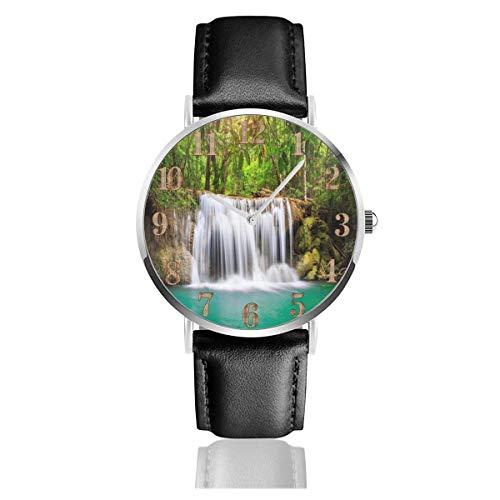 Watches Reloj de Pulsera Analógico Monoaguja de Cuarzo para Hombre Reloj para Hombre de Cuarzo Cascada Naturaleza Estanque Rocas con Correa en Cuero