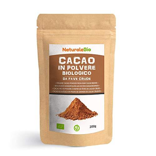 Poudre de Cacao Bio 200 g. Organic Cacao Powder. 100% Naturel et Pur à partir de Fèves de Cacao Crues. Produit au Pérou par la Plante Theobroma Cacao. Source de Magnésium, Manganèse et Phosphore.