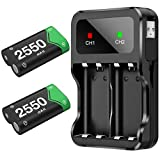 BEBONCOOL Rechargeable Battery Pack for Xbox One/Xbox Series X|S, 2x2550mAh Rechargeable Batteries and Fast Battery Charger Station Accessories Kit for Xbox One/One S/One X/Elite Wireless Controller