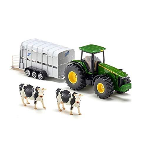 El Juguete De Los Niños del Muchacho del Modelo del Coche De La Aleación Adorna El Tractor con La Simulación del Remolque del Ganado