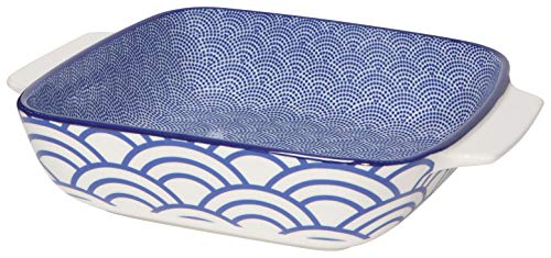 Now Designs 5092013aa Stamped Porcelain Baking Dish, 8 x 8 Inch/1.3 Quart Capacity, Lazurite Design