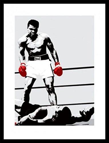 Muhammad Ali 1art1 Poster Kunstdruck und MDF-Rahmen Schwarz - Die Boxhandschuhe des Siegers (80 x 60cm)