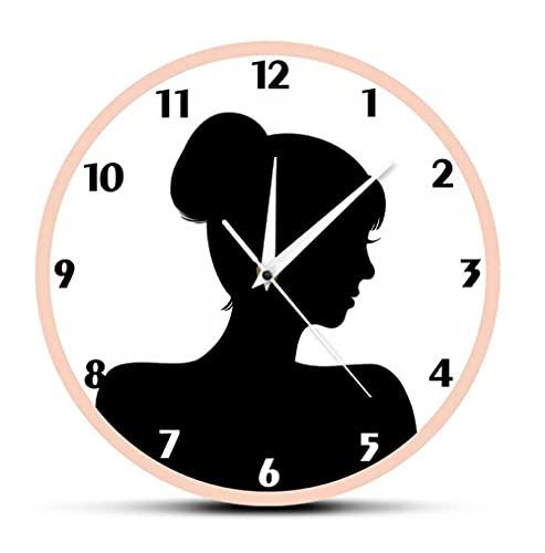 Reloj de Pared de acrílico Retro Silueta de Cabeza de Mujer Movimiento silencioso acrílico Reloj Colgante de Pared Antiguo Reloj de decoración de Pared para habitación de niñas y Mujeres (30Cm)