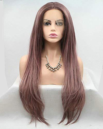 Roodbruine Kanten Voorpruik Drag Queen Flawless Lang Vriendelijk Synthetisch Haar Bruine Pruiken voor Vrouwen