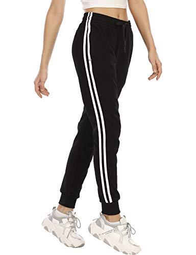 DAFENP Pantalon Chandal Mujer Largos Pantalones Chándal Deporte Yoga Fitness Gimnasio Jogger Algodón Pantalones Casual Rayas con Cremallera Bolsillo KZ6802W-BlackWhite-2G-S