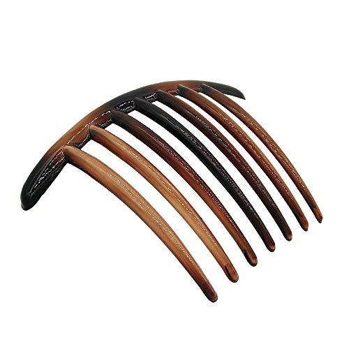 KC6-003 – 2 peignes pour cheveux, 10 cm courbés, dents larges, couleur tortue – 2 pièces – Peignes pour cheveux