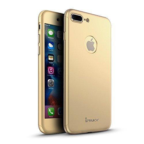 Custodia iPaky Originale per iPhone 7 Plus (5,5') Protezione 360º Gradi + Pellicola Vetro Temperato [ ORO ] Massima Qualità