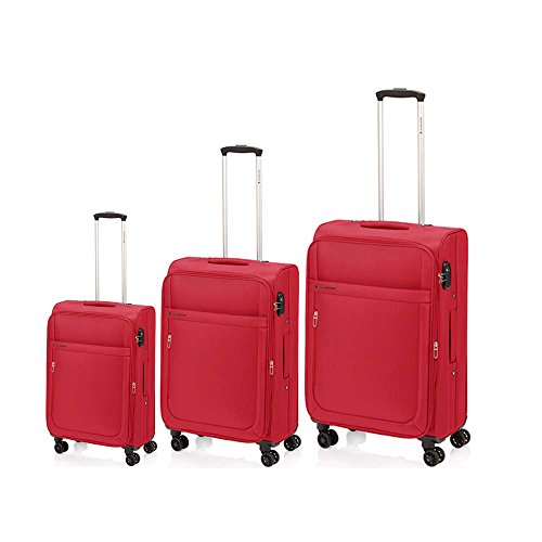 Juego de 3 Maletas Mondrian Gladiator de 36/44 - 60/70 - 90/103 Litros (Rojo)