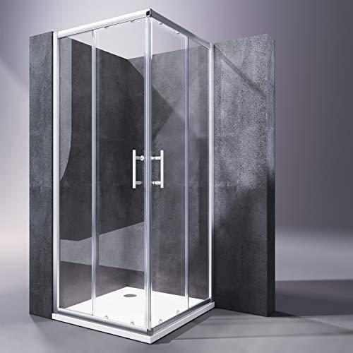 SONNI Duschkabine 90x90 mit Duschtasse Schiebetür Eckeinstieg Duschabtrennung Duschwand aus Sicherheitsglas