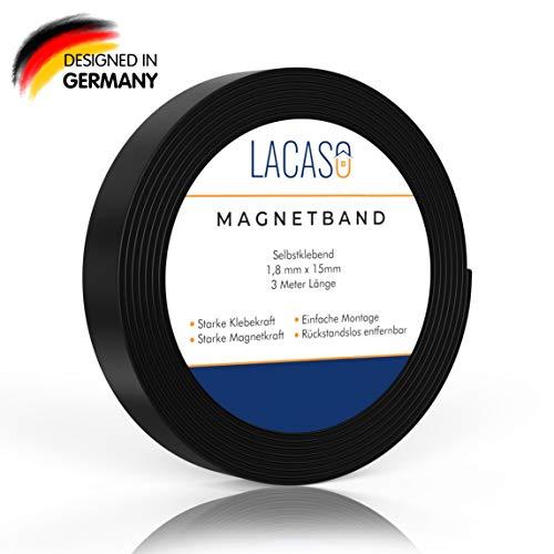 Lacaso Magnetband stark selbstklebend I Magnetklebeband I Universal Magnetstreifen Individuell Zuschneidbar I Ideal für Schule, Arbeit und Werkstatt I Verbesserte Version 2020