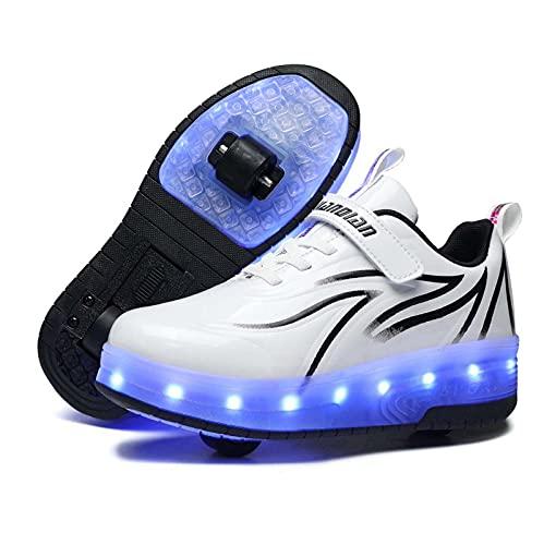 OPINGGU Zapatos De Patines De Ruedas para Niños, Zapatos De Skate Técnicos con Luz LED, Patines De Doble Rueda, Gimnasia Al Aire Libre, Zapatillas Luminosas con Carga USB,Negro,34