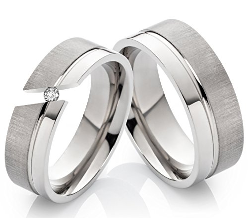 Eheringe Verlobungsringe Trauringe aus Titan 6mm und 8mm mit Zirkonia und Ringe Gravur TD107