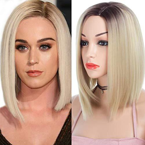 ATAYOU® Mittellange Gerade Blonde Ombre Synthetische Perücken Für Frauen Mit 1 Gratis Perücke Kappe