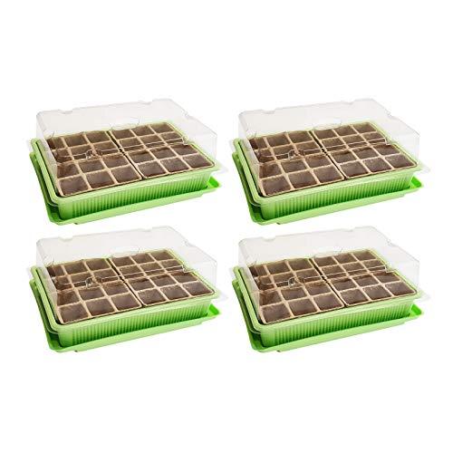 WELLGRO 4X Mini Gewächshaus - für bis zu 96 Pflanzen, ca. 27 x 19 x 10 cm (LxBxH) je Zimmergewächshaus, grün/transparent, Kunststoff/Zellulose