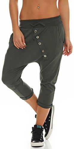 Malito Damen Kurze Hose mit Knopfleiste | Chino Hose in Unifarben | Baggy zum Tanzen | Sweatpants - Trainingshose 8015 (Oliv)