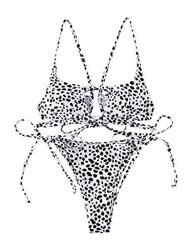 ZAFUL Conjunto de bikini para mujer con diseño de dálmata. Blanco M