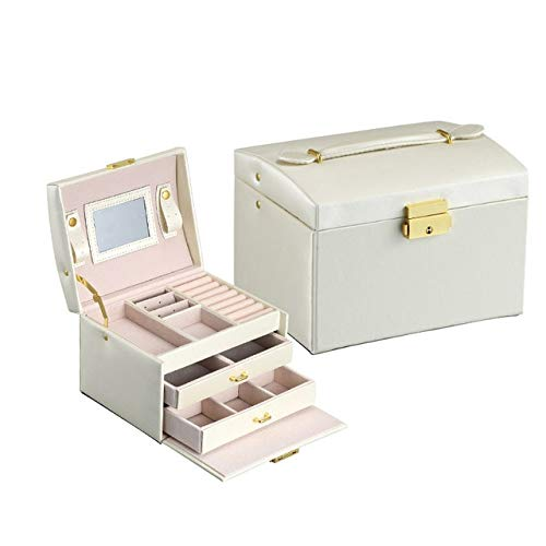 Organizador de caja de joyería Caja de joyería Gran capacidad de almacenamiento de cuero de PU Caja de joyería Pendiente Anillo Collar Estuche dejoyería Organizador de joyeríagrande, BLANCO
