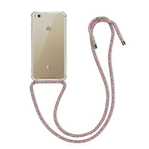 kwmobile Carcasa con Cuerda Compatible con Huawei P8 Lite (2017) - Funda Transparente de TPU con Cuerda para Colgar en el Cuello