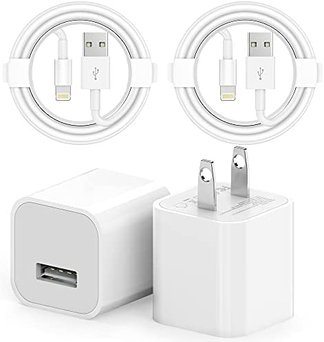 [Apple MFi Certified] iPhone Charger, 2 Set USB Wall Charger Travel Plug Block Rapid Charging Sync Transfer Cable Cord Compatible iPhone 12/11 Pro/X/Xs Max/XR/X/8 Plus/7 Plus/6/6s/5/SE 2020/AirPods