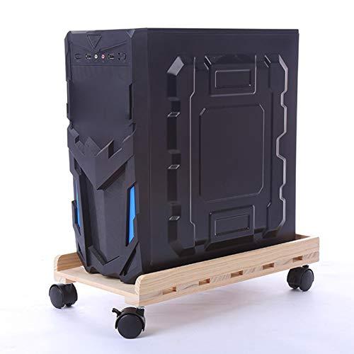 Soporte de CPU para PC, soporte para CPU con ruedas para computadora de escritorio de madera, con 4 ruedas con ruedas para debajo del escritorio, adecuado para la mayoría de PC