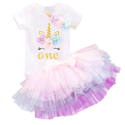 NNJXD Baby Girls 1st Birthday Unicorn Outfits Set Rainbow Tutu Skirt+ Unicorn T-Shirt+ Flower Headband(1 Years, 12 (Pink) 1 Year)