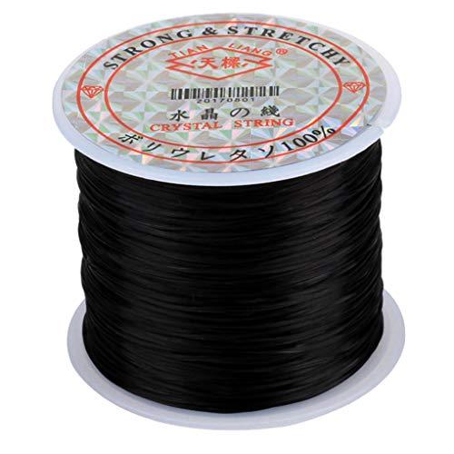 Guangcailun 60m / Rollo de Hilo Rebordear fabricación de la joyería cordón elástico Bricolaje abalor Hilo de Rosca Que rebordea la Cuerda DIY para la Pulsera de Collar Pulsera Tobillera, Negro