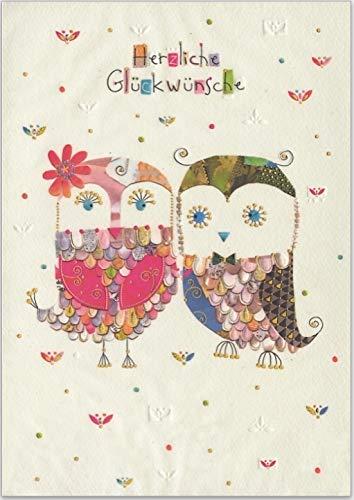 DinA 5 große Glückwunschkarte zur Hochzeit - hochwertige Umschlag-Karte von Turnowsky mit süßem gefiedertem Eulen-Paar