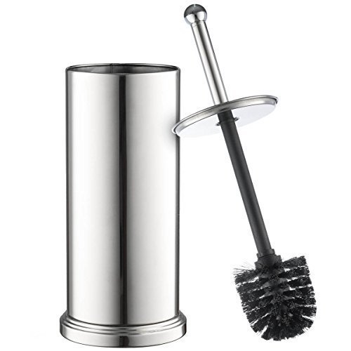Home-it Toilet Brush Set Chrome Toilet Brush for Tall Toilet Bowl and Toilet Brush Holder with Lid...