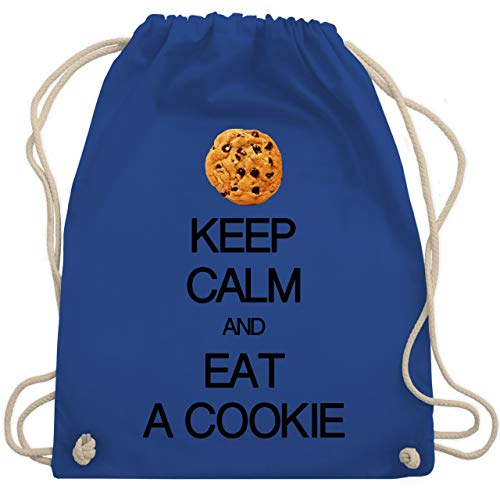Shirtracer Keep calm - Keep calm and eat a cookie - Unisize - Royalblau - turnbeutel keep calm and eat a cookie - WM110 - Turnbeutel und Stoffbeutel aus Baumwolle