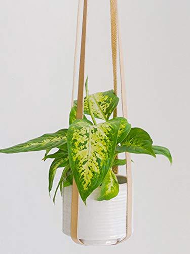 Leather Plant Hanger Vegan Premium PU Straps Adjustable Length, Sandy Beige Planter Holder for Indoor Plants, Hang from Wall Ceiling Window, Modern Boho Home Decor, Simple Hanging Planters Pot Basket