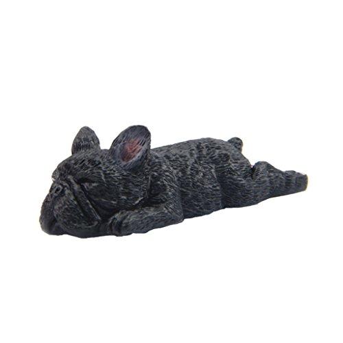 Baoblaze Corgi Dog Bulldog Figurine Lovely Resin Sleeping Statue Ornaments Miniature Garden, Terrarium, Table or Shelf Decor - Dark#1