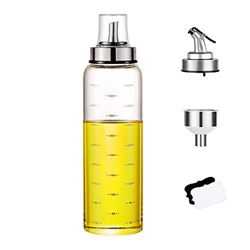 Savna Dispensador de aceite y vinagre, botella de cristal para cocinar, con las dimensiones marcadas (500 ml, tipo B, 1 unidad)