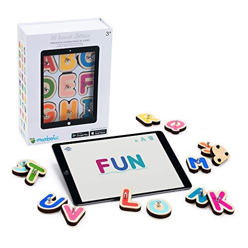 Marbotic - Smart Letters for iPad & Samsung Tablets, Letras mayúsculas interactivas de Madera para Aprender a Leer y a Escribir de Forma práctica y Divertida, Edad: 3-5 años