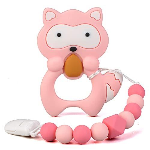 Juguetes para la dentición para bebés Mordedores de silicona sin BPA para bebés con pinza para chupete Galleta rosa para aliviar el dolor, linda y efectiva, para niña elegante(Rosado)