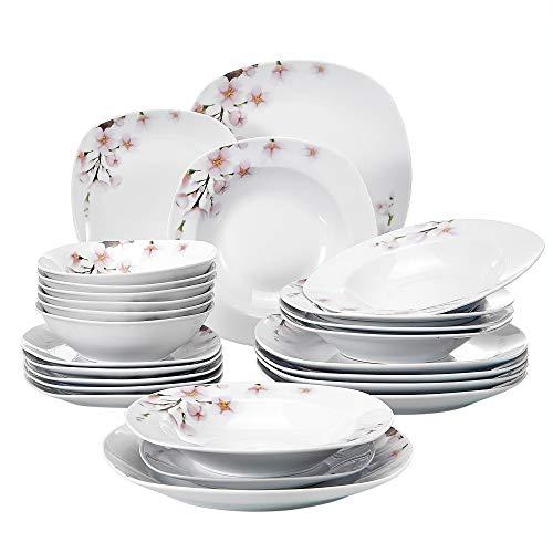 VEWEET Tafelservice 'Annie' aus Porzellan 24 teilig | Geschirrset beinhatlet Müslischalen, Dessertteller, Speiseteller und Suppenteller| Geschirrservice für 6 Personen