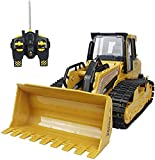 CHSSQ RC Bulldozer 5 Channel Full Function Crawler Remote Control Bulldozer Excavator Construction Vehicle Front Loader Dump Truck Toy