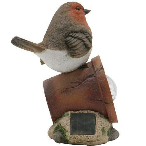 Solar Power Robin Perched on a Plant Pot LED Decorative Rock Light Garden Bird Light/Ornament