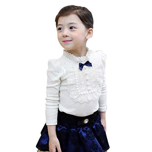 GObabyGO Elegant Baby Kids Girls Bowknot Cotton Lace Long Sleeve Shirt Toddler Blouse Tops (White, 1-2 Years)