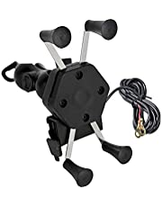 AutoSun AS-M-C-8002 Spider Bike Multifunctional Mobile Holder with USB Charger Mototrcycle Mobile Holder Bracket